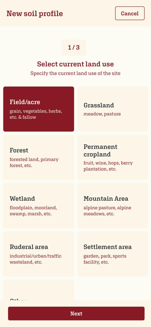 SOILBOOK Tutorial – Current Land Use